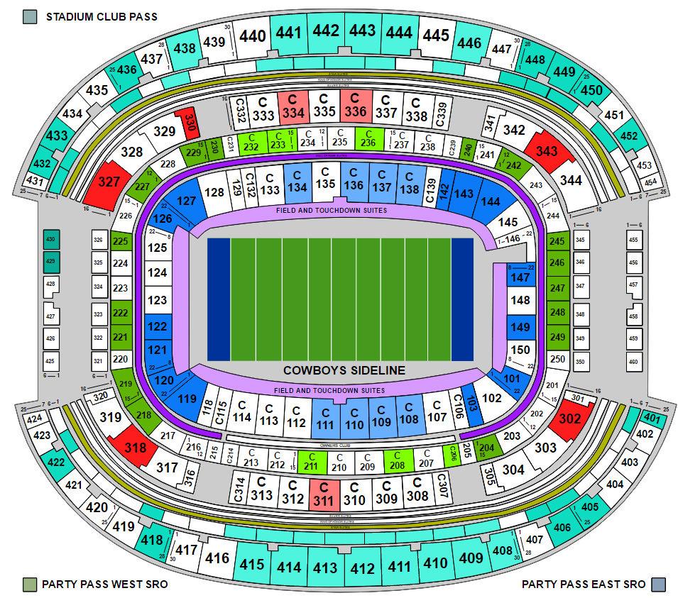 AT&T Stadium Seat Map