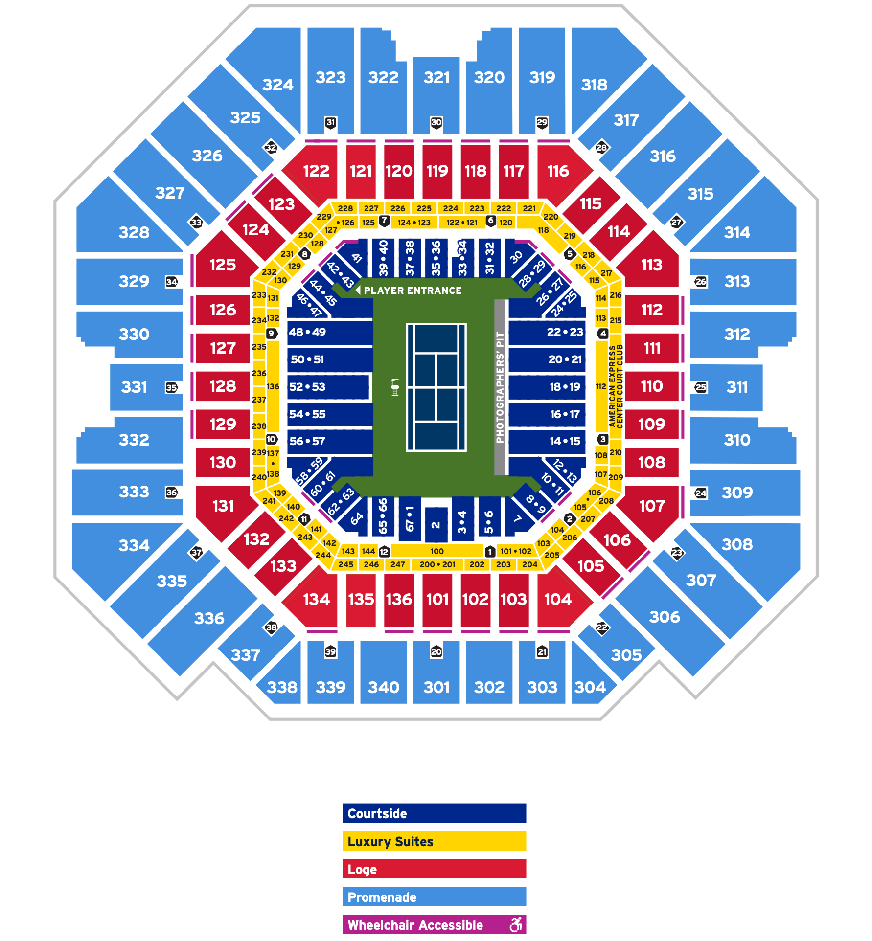 US Open Tennis Seat Map